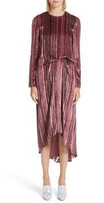 Sies Marjan Metallic & Velvet Stripe Dress