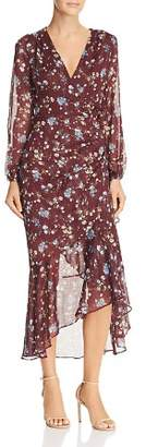 ASTR the Label Ruched Drawstring Floral Faux-Wrap Dress