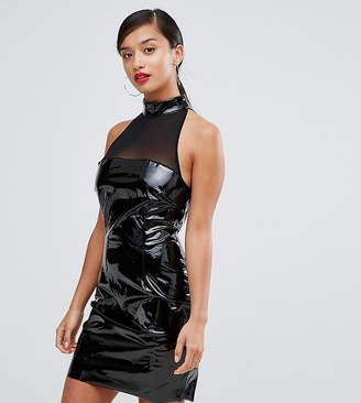 Naanaa Petite Bodycon Dress With Mesh Detail In Pvc