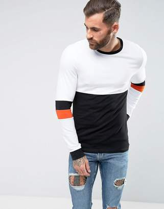 Asos Design Muscle Long Sleeve T-Shirt With Sleeve Cut And Sew Detail