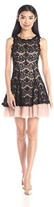 Betsy & Adam Women's Short Lace Party Fit and Flare $230 thestylecure.com