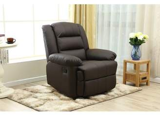 ADBA Oversize and Overstuffed Single Seat Faux Leather Recliner,Modern Style with Brown Color