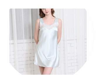 edf9078fd4 Color mood Pajamas Home Satin Nightdress Sleeveless Women Soft Sleepwear  Mini Dress Embroidery Nightgown