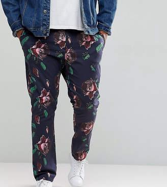 Asos Plus Skinny Trousers In Oversized Rose Print