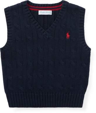 ... Ralph Lauren Cable-Knit Cotton Sweater Vest