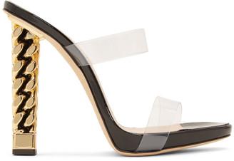 Giuseppe Zanotti Black and Gold Rita Ora Edition Eve Sandals