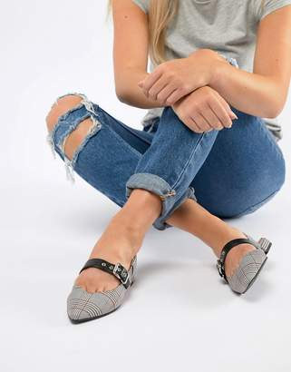 Pull&Bear Check Slingback Shoe In Grey