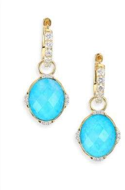Jude Frances Lisse Diamond, Turquoise, Moonstone& 18K Yellow Gold Earring Charms