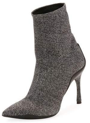 Rene Caovilla Stretch Metallic Booties with Crystal Heel