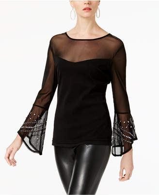 INC International Concepts I.N.C. Embellished Bell-Sleeve Illusion Top, Created for Macy's