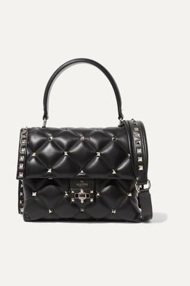 Valentino Garavani Candystud Quilted Leather Shoulder Bag - Black