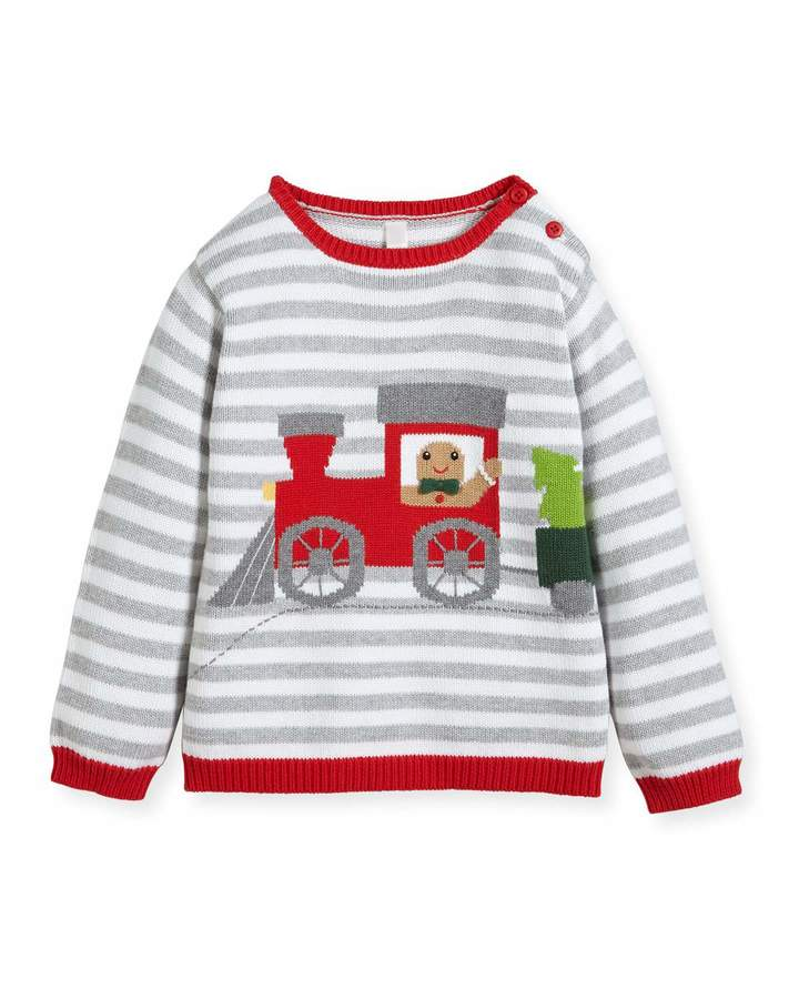 Zubels Boys' Gingerman Train Striped Knit Sweater, Sizes 2T-10