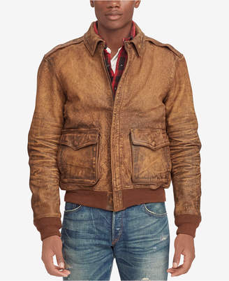 Polo Ralph Lauren Men Leather Bomber Jacket