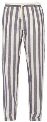 The Gigi - Waikiki Mid Rise Striped Linen Trousers - Mens - Blue White