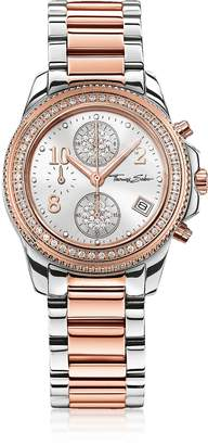 Thomas Sabo Glam Chrono Silver and Rose Gold Stainless Steel Women's Watch w/Crystals