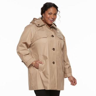 Tower By London Fog Plus Size TOWER by London Fog Hooded Double-Collar Jacket