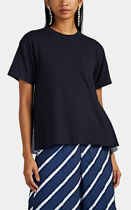 Sacai Women's Striped-Oxford-Detailed Cotton T-Shirt - Navy