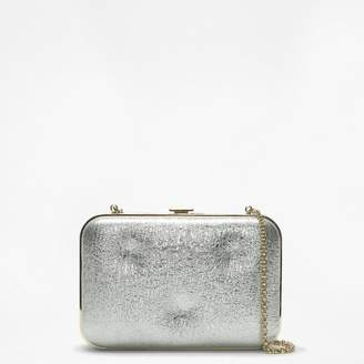 35e6334bb26b Anya Hindmarch Chubby Frame Silver Metallic Crinkle Leather Clutch Bag