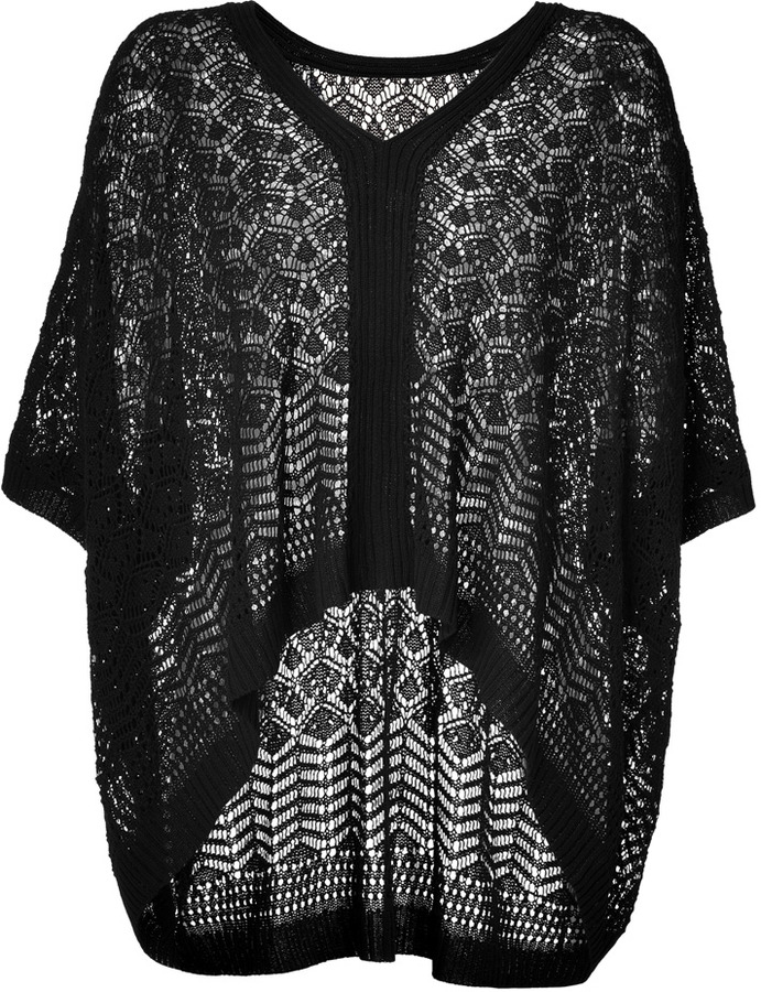 Anna Sui Black Ajour Knit Oversized Pullover