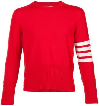 Thom Browne Short Crewneck Pullover With 4-Bar Stripe In Red Cashmere
