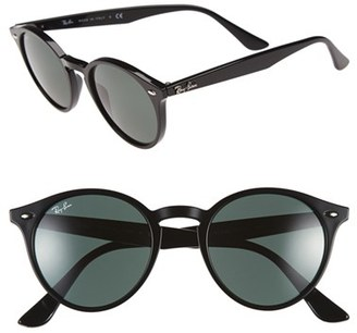Women's Ray-Ban Highstreet 49Mm Round Sunglasses - Black $140 thestylecure.com