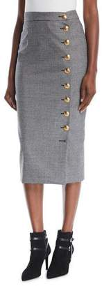 Escada Mini-Houndstooth Straight Wool Midi Skirt w/ Golden Side Buttons