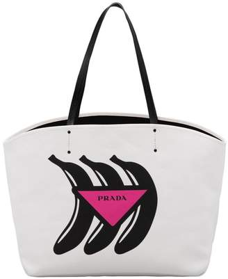 Prada Large Canvas Tote With Logo Print