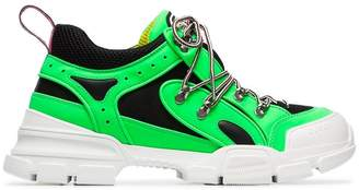 Gucci green and black Flashtrek leather and mesh sneakers