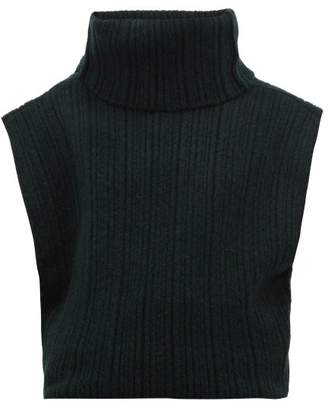 Jacquemus Aube Cut Out Roll Neck Sweater - Womens - Dark Green