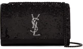 Saint Laurent Monogramme Kate Medium Sequined Satin Shoulder Bag - Black