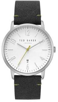 Ted Baker Stainless Steel Grey Leather Strap Watch