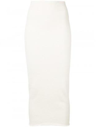 Yeezy stretch midi pencil skirt $550 thestylecure.com