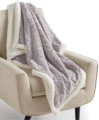 """Martha Stewart Collection Textured Medallion Reversible 50"""" x 60"""" Classic Sherpa Throw, Created for Macy's Bedding"""