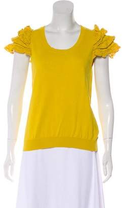 RED Valentino Tiered Short Sleeve Rib Knit Top
