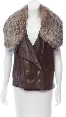 Robert Rodriguez Fur-Accented Leather Vest