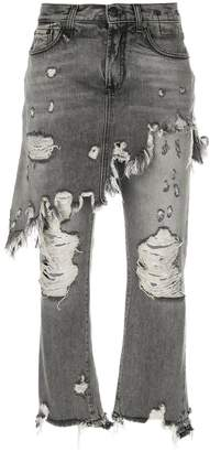 R 13 distressed skirt-effect jeans