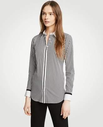 Ann Taylor Petite Grosgrain Striped Perfect Shirt