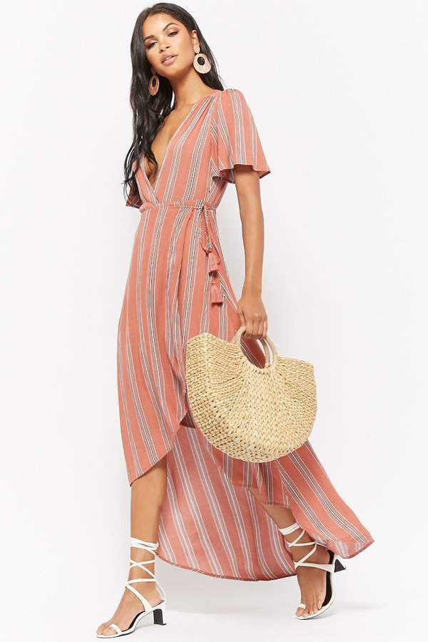 Striped High-Low Wrap Dress