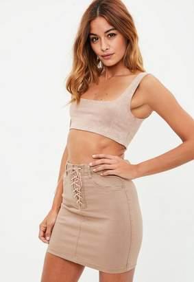 Missguided Camel Lace Up Stretch Denim Mini Skirt