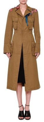 Valentino Tropical Dream Embroidered Trenchcoat, Khaki $5,250 thestylecure.com
