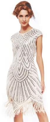 Uniq Sense Women's 1920s Flapper Dresses - Sequined Beaded Fringed Emblished Great Gatsby Dresses (, XXL)