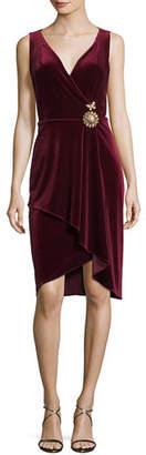 Kobi Halperin Kailey Surplice Sleeveless Velvet Cocktail Dress w/ Embellishment