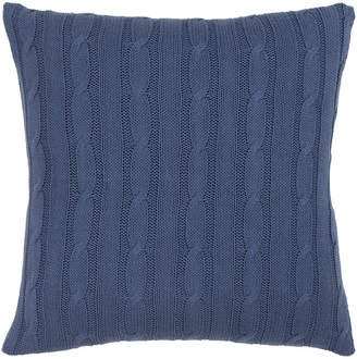 """Rizzy Home Blue 18"""" X 18"""" Cable Knit Pillow Cover"""