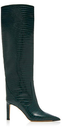Jimmy Choo Mavis Croc-Effect Leather Knee Boots Size: 39