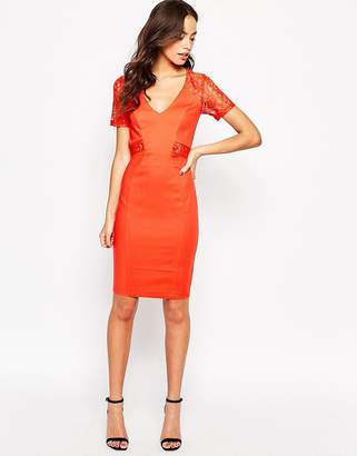 Paper Dolls Lace Insert Pencil Dress
