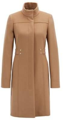 BOSS Hugo Virgin-wool-blend coat hardware-trimmed belt detail 10 Brown
