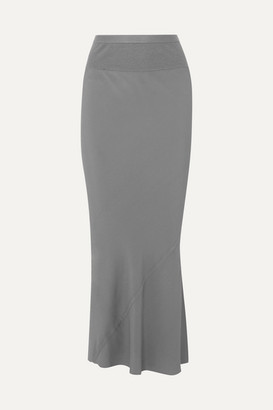 Rick Owens Ribbed Knit-trimmed Crepe De Chine Maxi Skirt - Light blue