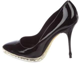 Rochas Patent Leather Pointed-Toe Pumps