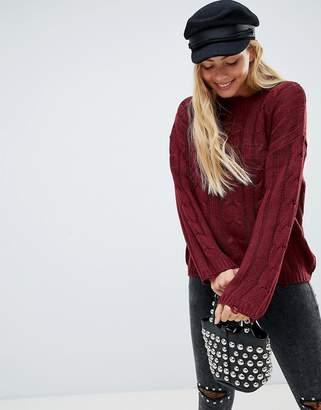 Brave Soul Bangla Cable Knit Sweater with Distressing Detail