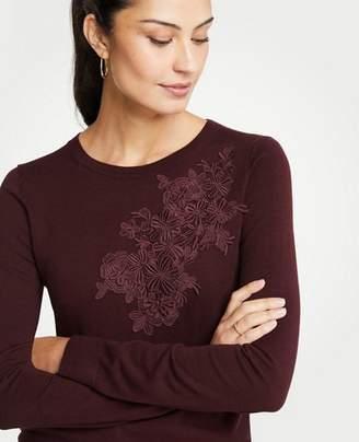 Ann Taylor Petite Floral Applique Sweater